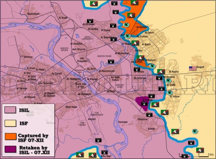 Фронтовете в Мосул около 15:00 българско време, 7-12-2016г.